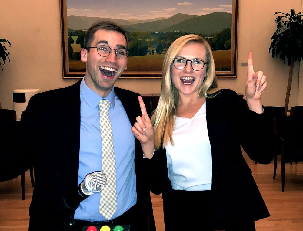 Katherine Collins and Christopher Macomber after their victory. Photo Jenny Lamerth '19 / The Virginia Law Weekly.