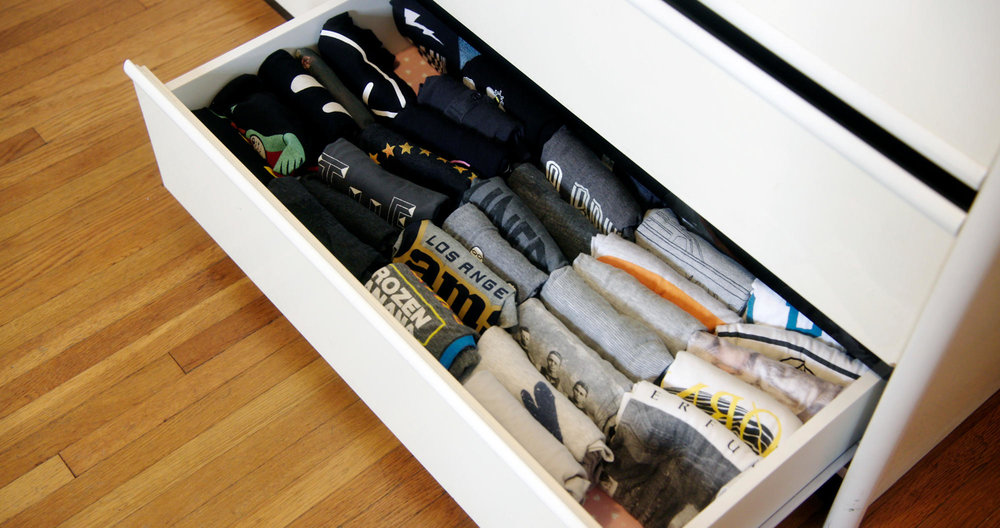 A exactingly culled and precisely reorganized drawer full of inner joy (and neatly folded T-shirts). Photo courtesy Netflix.