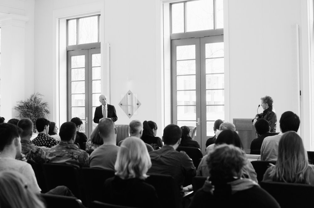 Allan Hall speaking to an audience in Caplin Pavilion last week about his experiences in Nazi-occupied Germany and the importance of civic engagement and the rule of law in combatting extremism. Photo credit Kolleen Gladden '21.