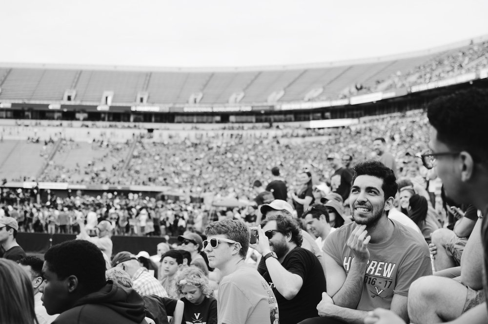 Law Weekly photographer Kolleen Gladden '21 captures the crowd present at the Scott Stadium celebration.