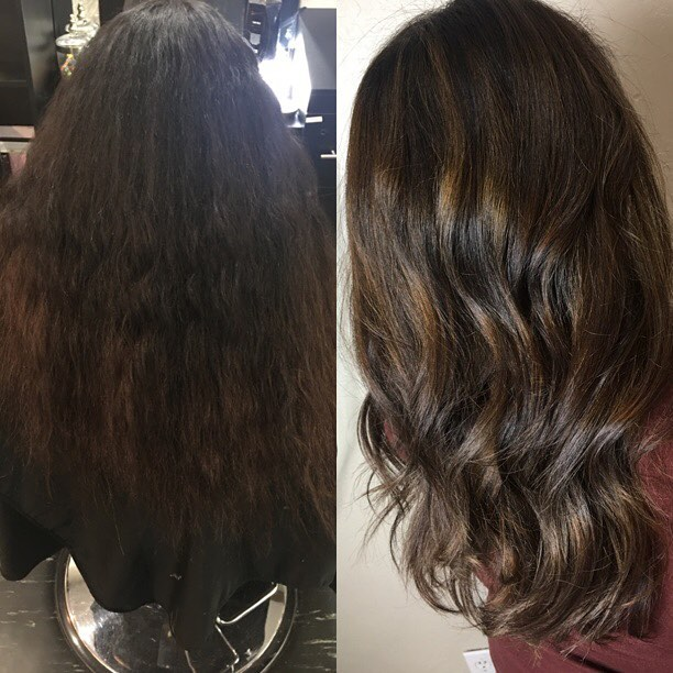 Before on after on lovely Stephanie. First step to getting her all over lighter. #edunawayhair #balayage #colorcorrection #pravana #evohair