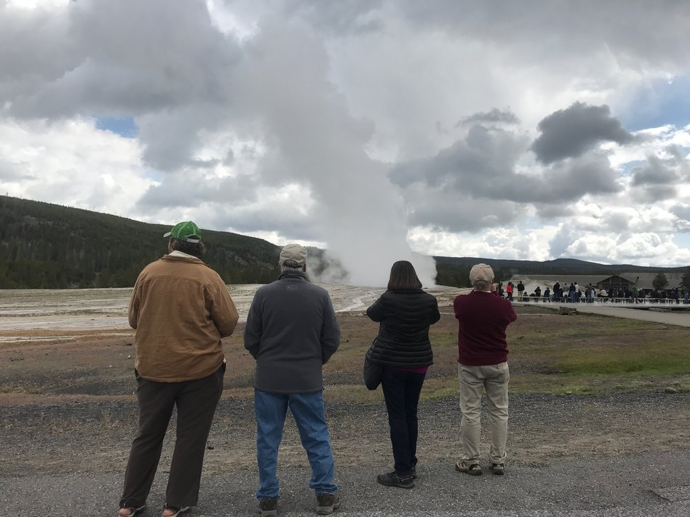Watching Old Faithful Geyser Erupt