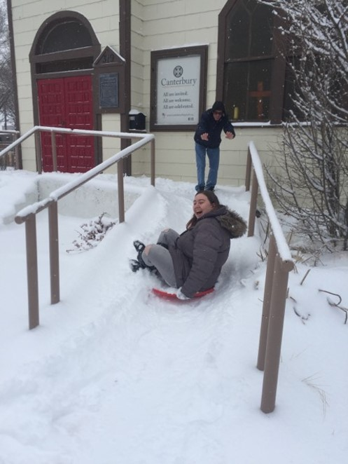 Two of our students, making creative use of Canterbury's ramp.