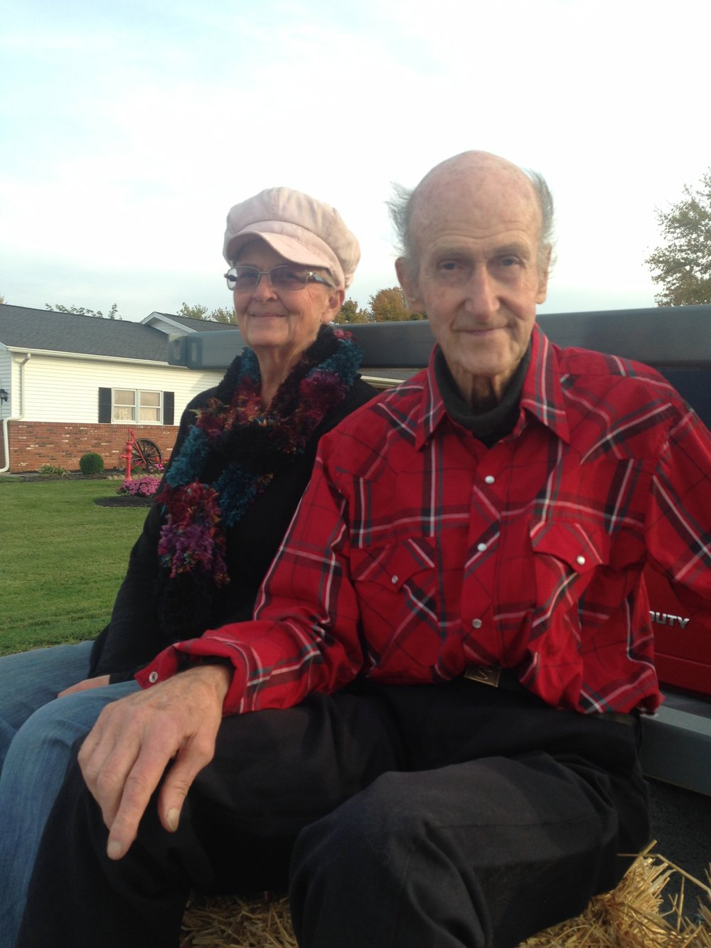 Jerry and his wife Marilyn sit on a float for the 2016 Benton-Ridge parade. The float paraded down main street to announce to the small village that the Solt family track would be opening in 2017.