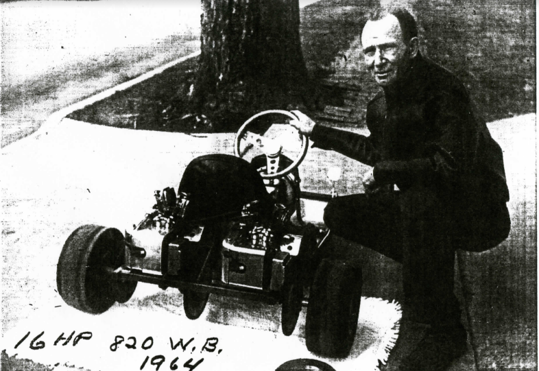1964 -  Jerry Solt's father, Russell Solt, posing with an SAE with twin West Bend 820's, each sporting the Solts' own V-16 manifold.