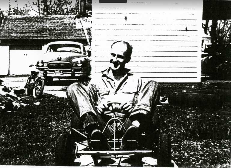 "1960 - Standing a 6 '4"", Jerry Solt folds himself into a special built kart for his 4' 4"" friend, Ralph Frech. This is one of Jerry's very first karts."