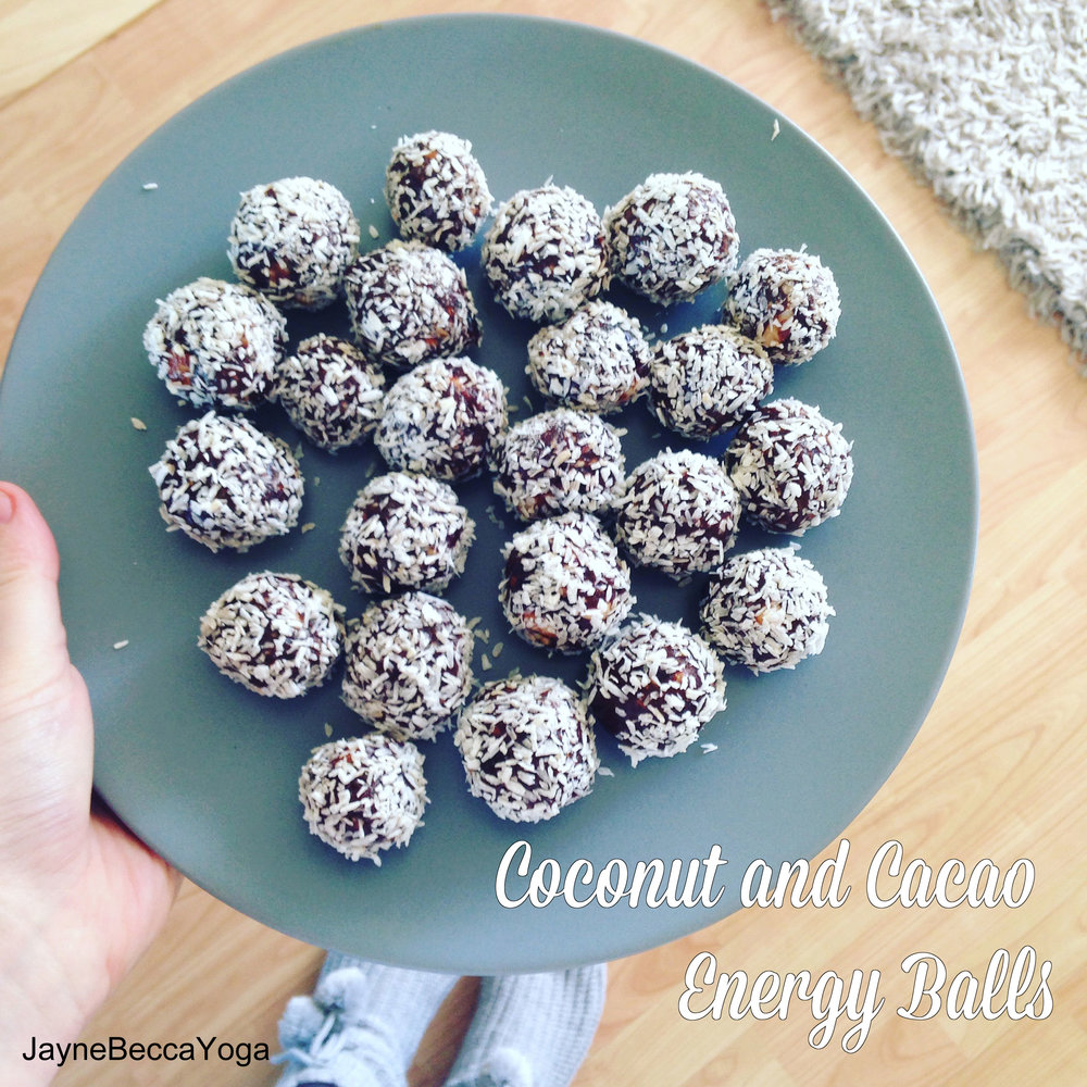 Coconut and Cacao Energy Balls - Jayne Becca Yoga