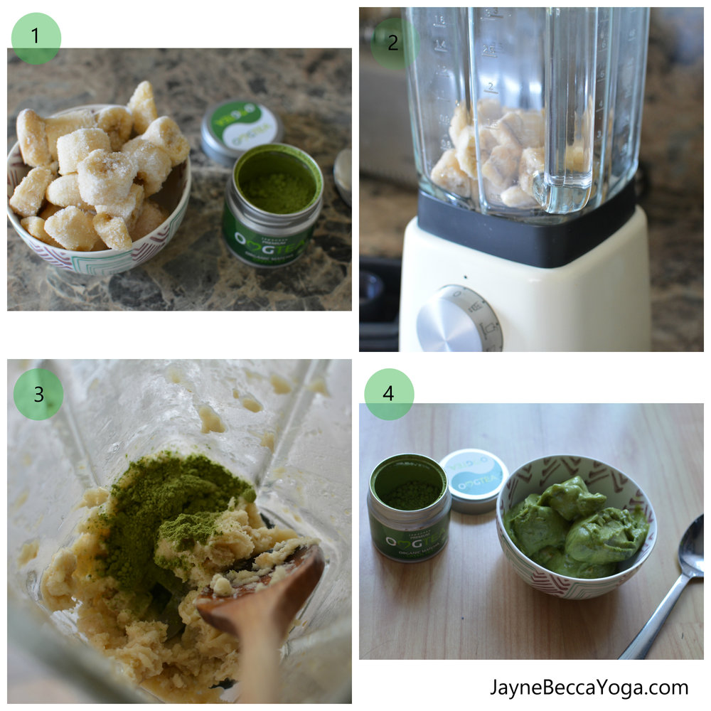 Two Ingredient Vegan Matcha Green Tea Ice Cream Recipe - Jayne Becca Yoga