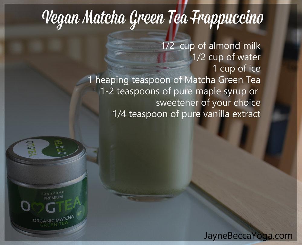 Vegan Matcha Green Tea Frappuccino Recipe Card - Jayne Becca Yoga