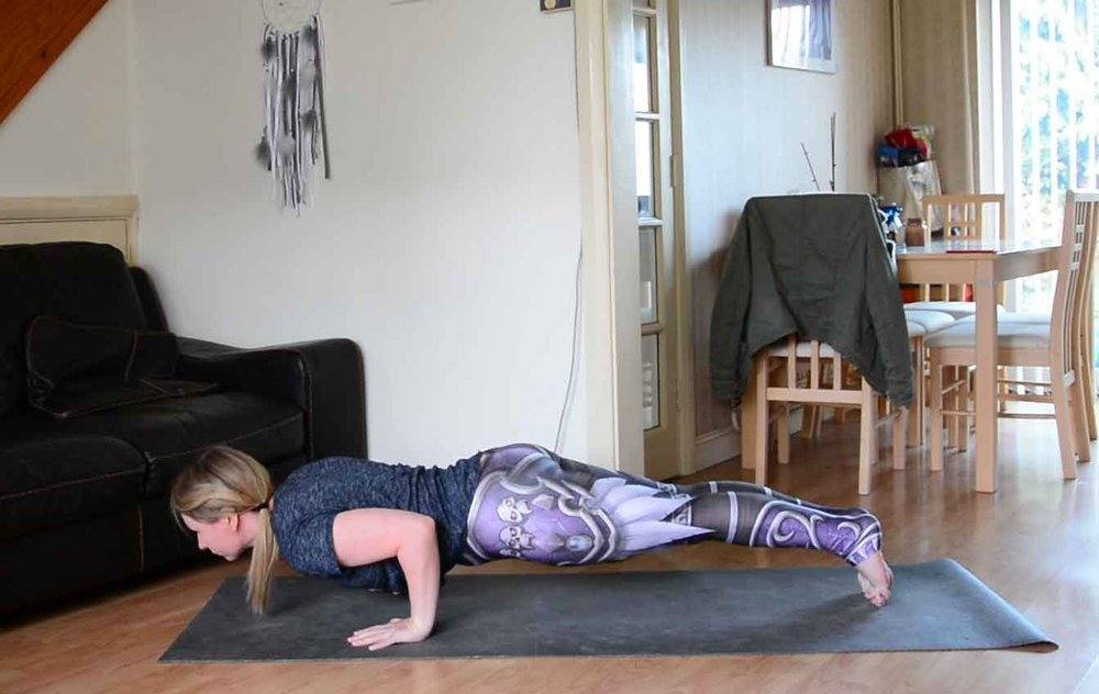 Tips for Chaturanga. Leggings:  Wild Bangarang .