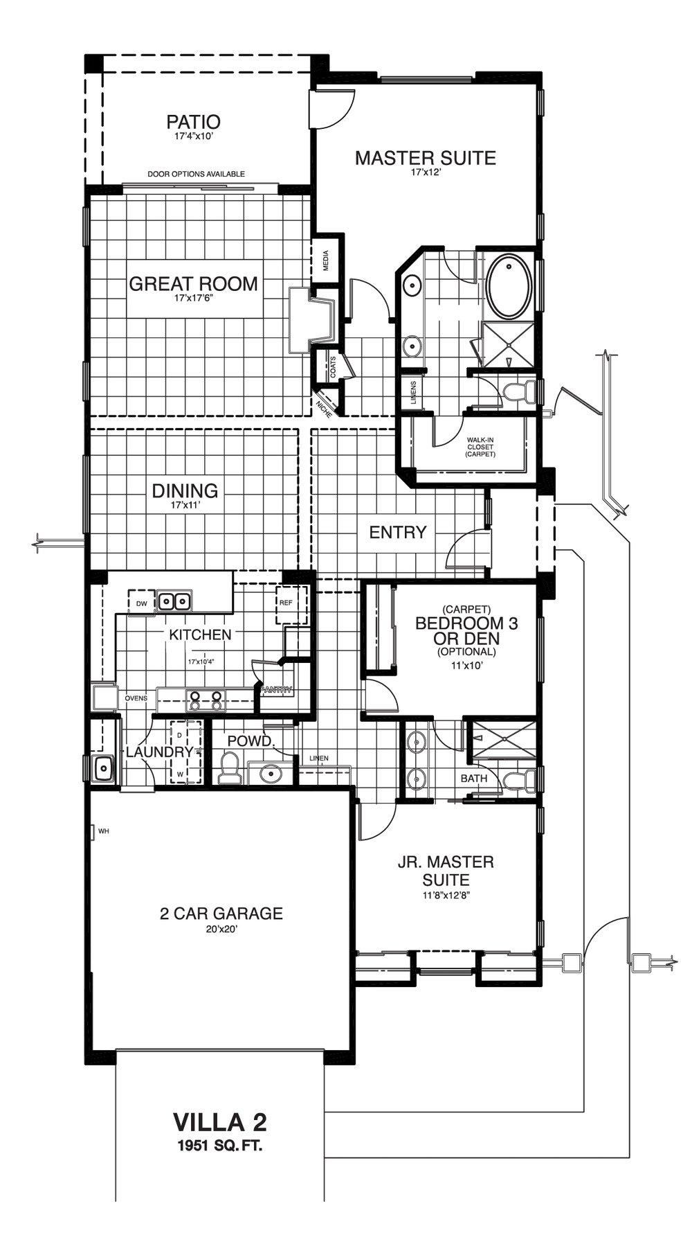 Villa 2 reverse floor plan.