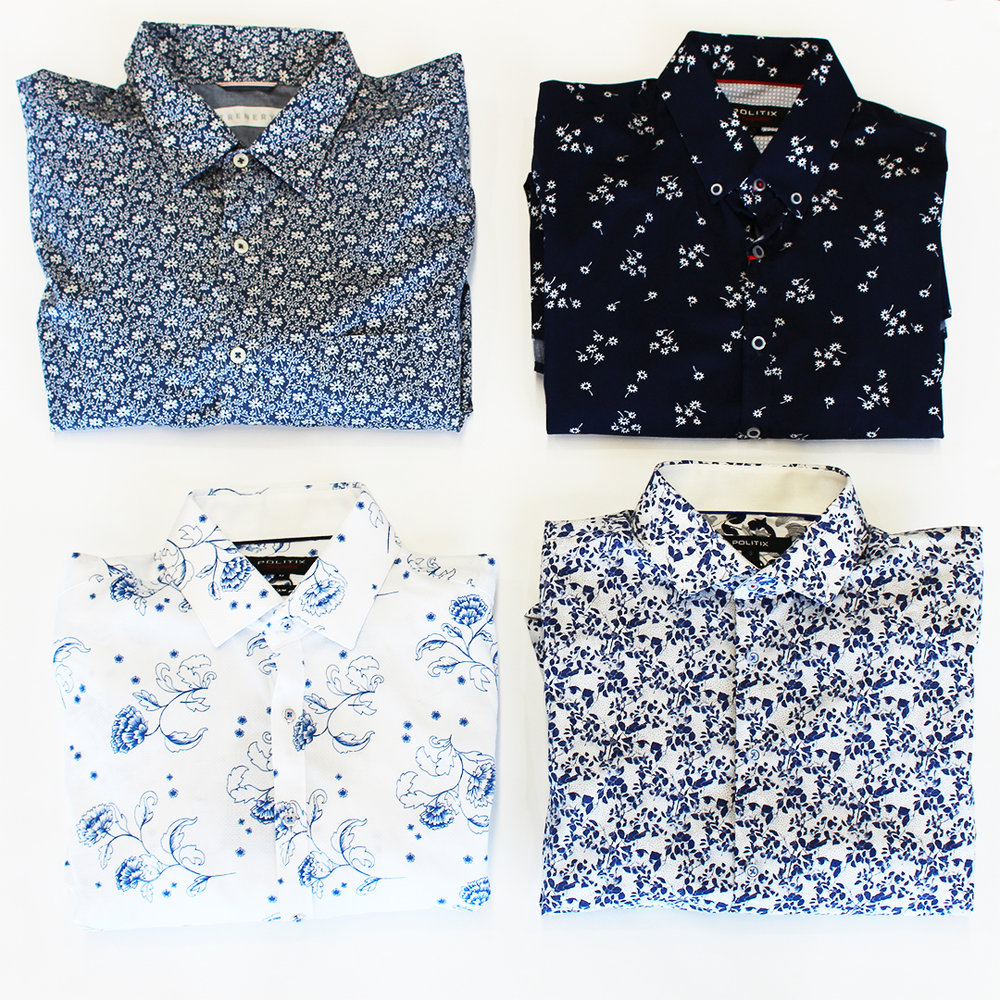 Short sleeves (Top L-R): Country Road (Trenery) - $39.95, Politix - $109  Long sleeves (Bottom L-R): Politix - $159, Politix - $169