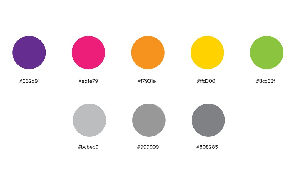 Colors of Rungg–A perfect palette of bright colors representing the brand.