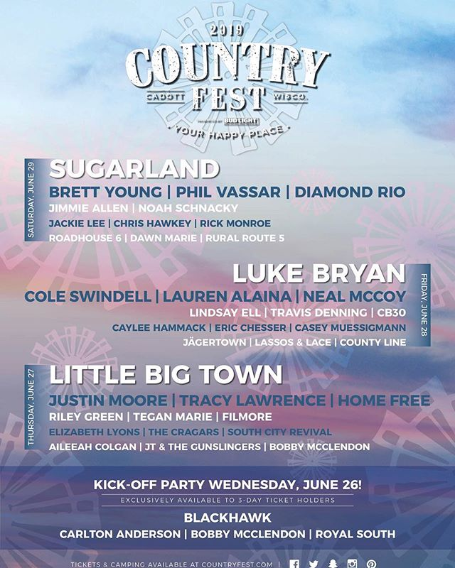 🚨🚨🚨MARK YOUR CALENDARS🚨🚨🚨 Unbelievably stoked to be part of it @b95radio Country Fest this year and to rub elbows with the cool kids @brettyoungmusic @littlebigtown @lukebryan @coleswindell @justincolemoore #ChicagoCountry #CountryFest #FestivalPapis