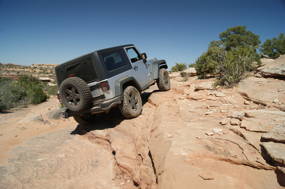 Even with the factory suspension, the JK never failed to impress -dual factory lockers, an electronic front sway bar disconnect and a 4:1 Rock Trac transfer case certainly didn't hurt.