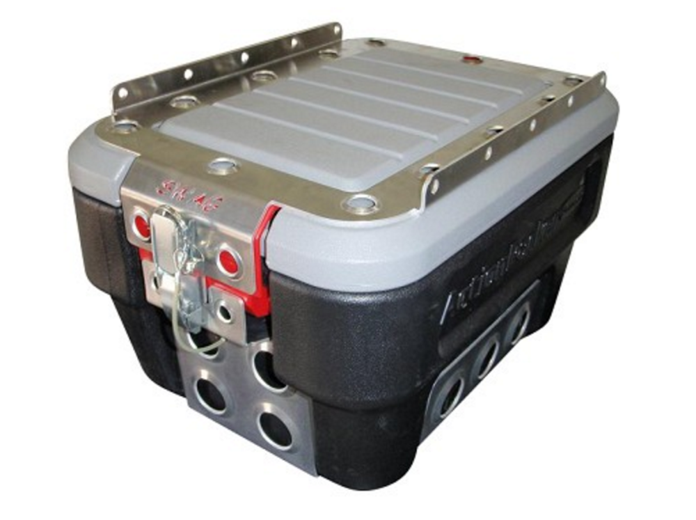 Rubber Maid Action Packers are a great low cost alternative to more expensive aluminum cases and are readily available at most retail stores. This one is outfitted with one of SWAG Off Road's Baja Bins. Image: Swag Off Orad Equipment