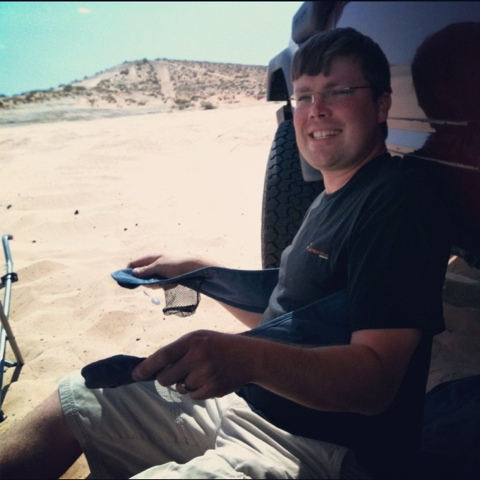 Here I am at Lake Powell, UT mocking a former camp chair.