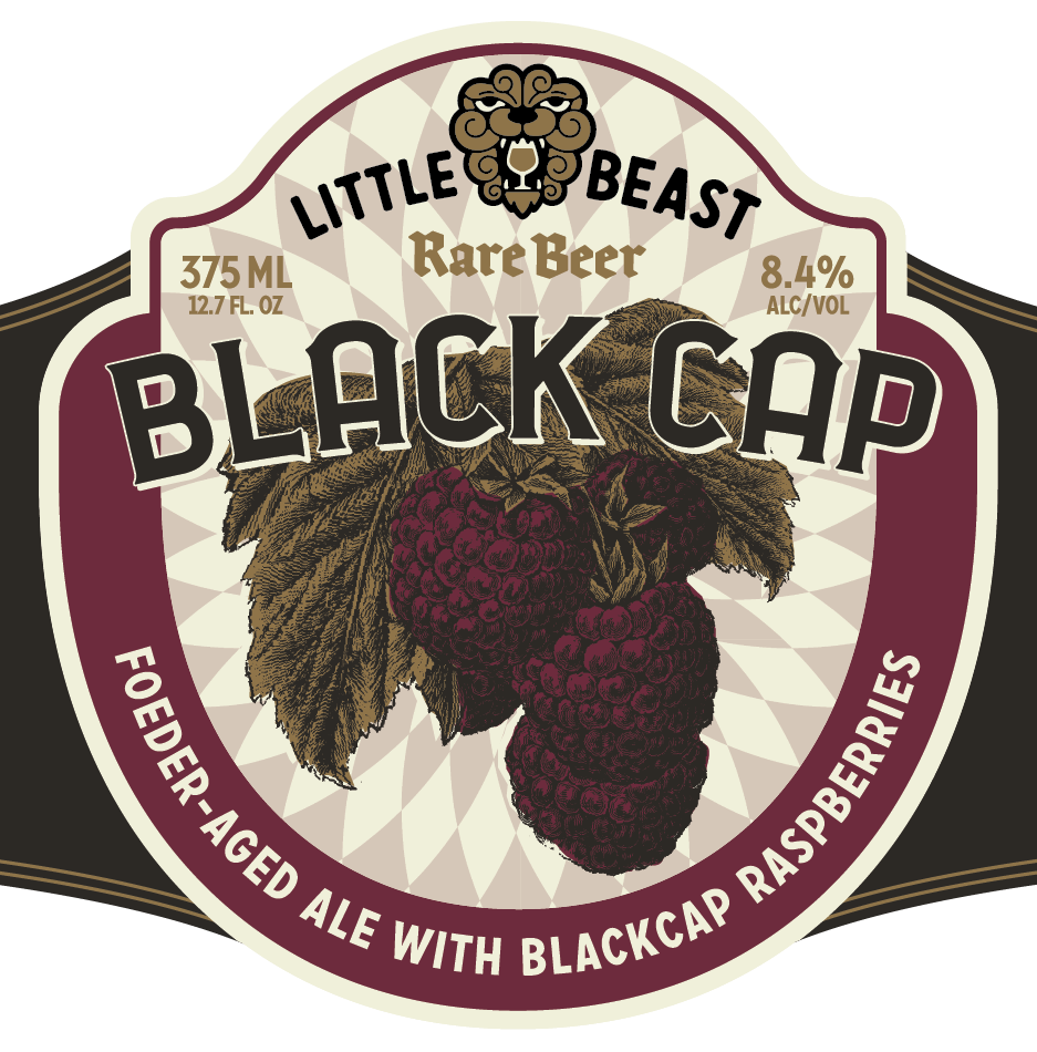BLACK CAP / Foeder-Aged Ale with Blackcap Raspberries    Seven distinct microflora and an abundant amount of whole Oregon blackcap raspberries combine to create a jammy, medium-bodied earthy ale with bright acidity.  8.4% ABV / 12 IBU / 375 ML