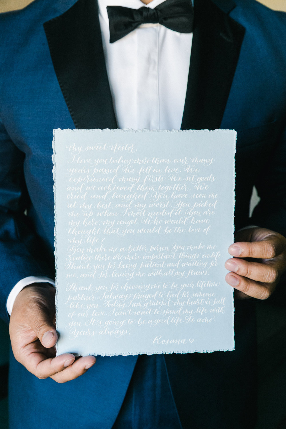 Handwritten calligraphy vows