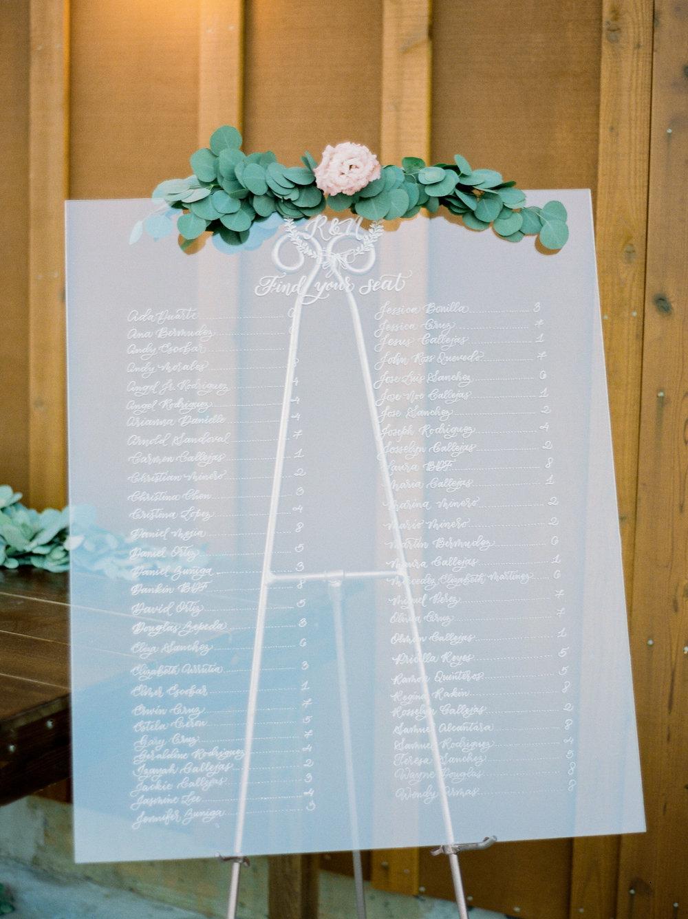 Yosemite wedding acrylic seating chart calligraphy items by paperloveme1.jpg