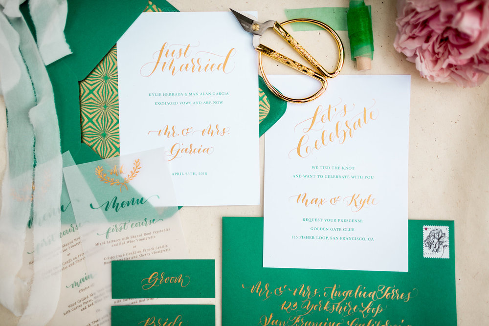 Elopement Announcement Esmerald and Gold Inspired by Paperloveme Calligraphy16.jpg