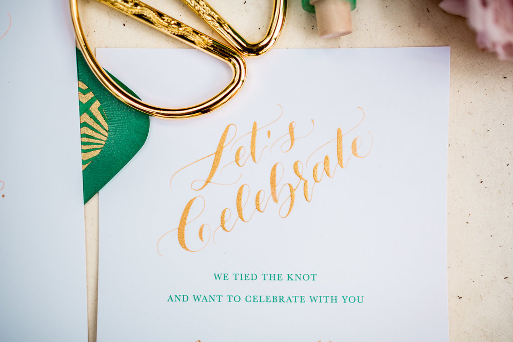 Elopement Announcement Esmerald and Gold Inspired by Paperloveme Calligraphy19.jpg