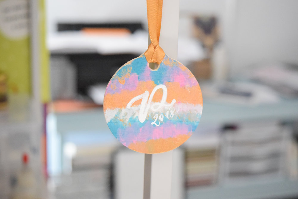 Modern Personalized Christmas Ornament | Hand Painted & Handwritten in Calligraphy Wood Ornament | Keepsake Monogram Ornament | Gift for Her