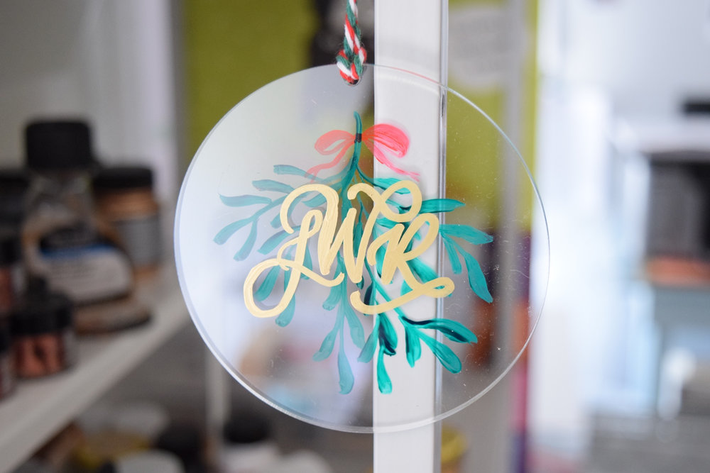 Modern Personalized Clear Acrylic Ornament | Modern Home Christmas Decor | Custom Calligraphy Ornament | Personalized Keepsake Ornament