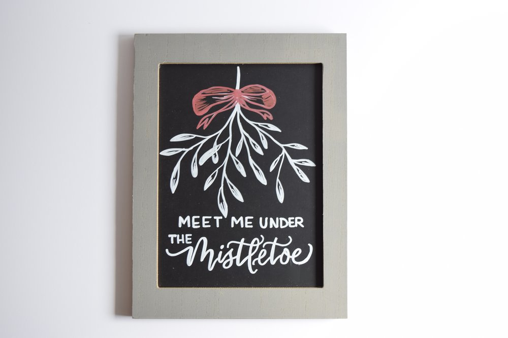 Meet Me Under The Mistletoe Christmas Custom Chalkboard | Personalized Sign | Christmas Decor | Christmas Chalk Art | Farmhouse Sign