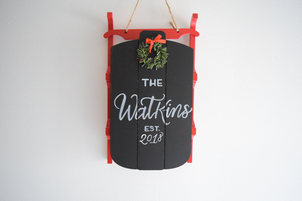 Christmas Sled Family Established Custom Chalkboard Sign | Personalized Family Name Sign | Christmas Decor | Farmhouse Sign | Door Decor