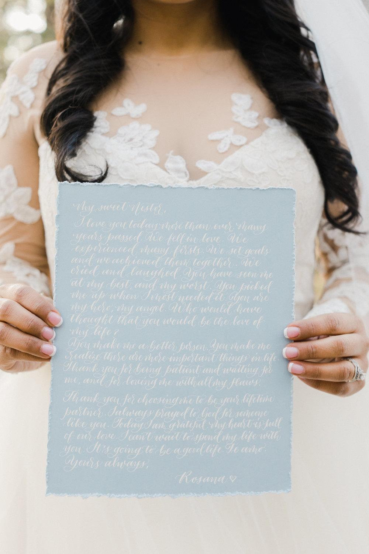 Handwritten Wedding Vows | Poem Handwritten in Calligraphy | Custom Calligraphy Poem | Vows Handwritten in Calligraphy | Size 8x10