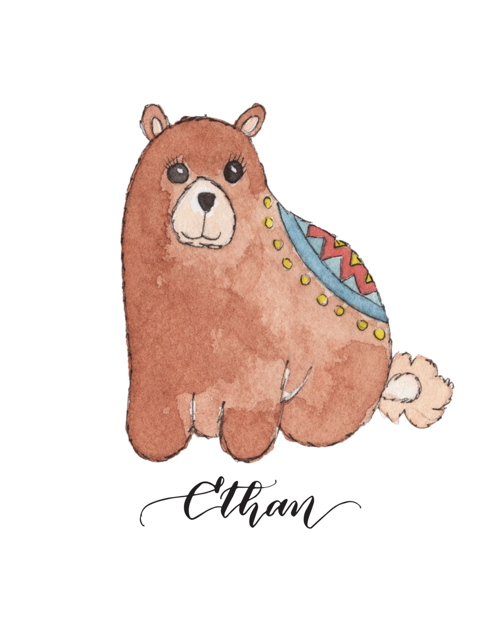 Personalized Cute Baby Bear for Baby Room | Christmas Gift for Baby Room