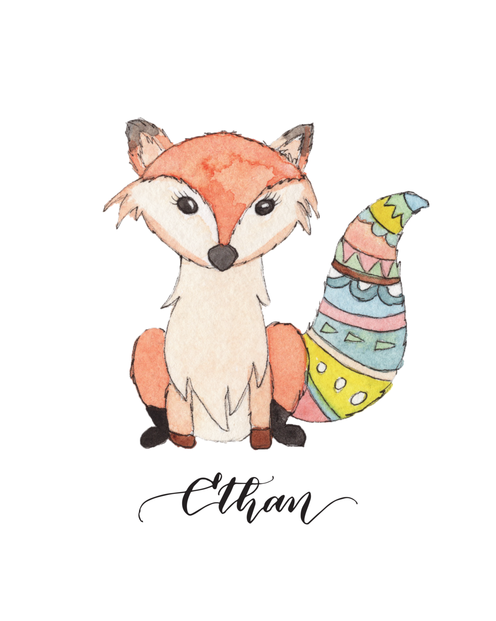Personalized Cute Baby Fox for Baby Room | Christmas Gift for Baby Room
