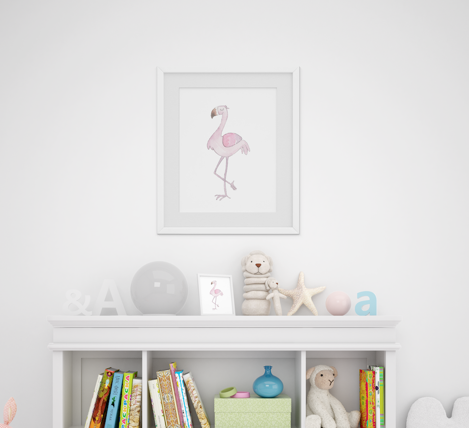 Personalized Cute Baby Flamingo for Baby Room | Christmas Gift for Baby Room