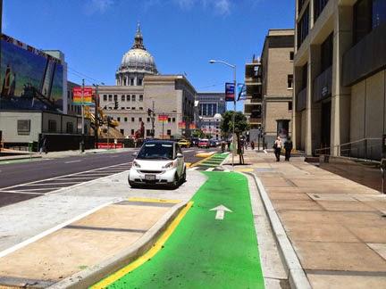 Contra-flow bike lane at Polk Street