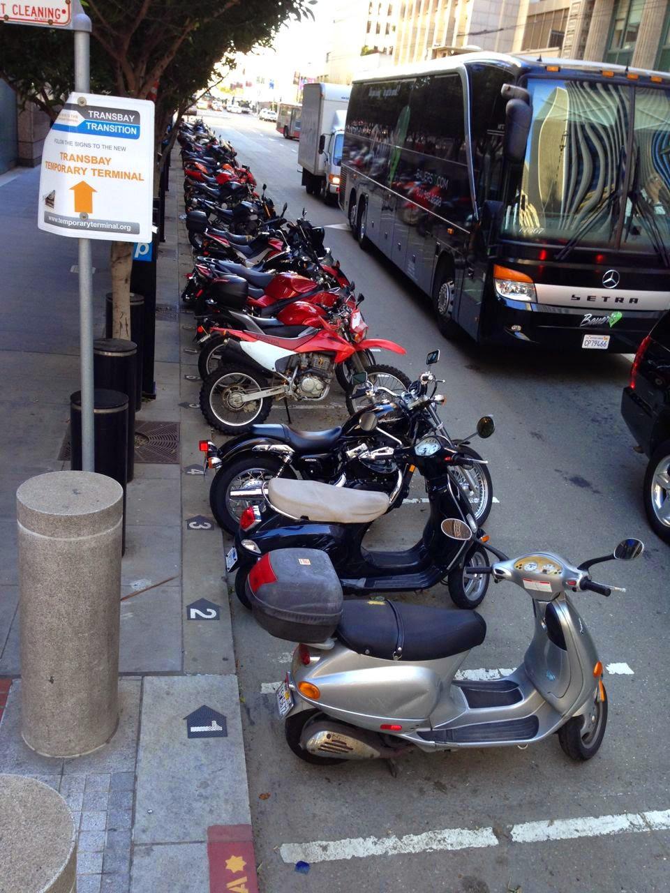 Metered motorcycle parking in Downtown