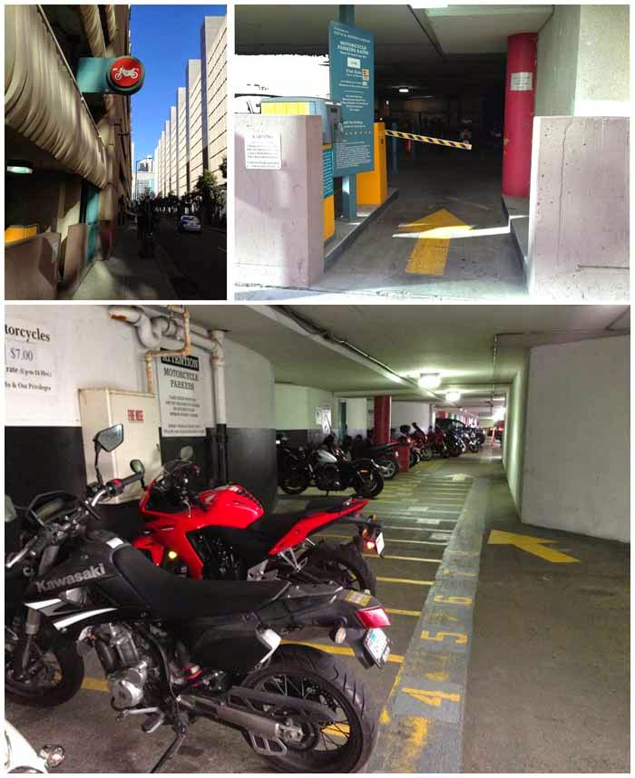 Motorcycle Parking at 5th and Mission Garage with separate entrance and exit.