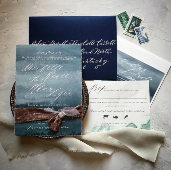 Invitation Design by  Papertree Studio , Photography by  Kay Kroshus , Calligraphy by Caitlin Jane Calligraphy