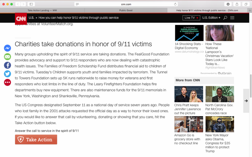 """CNN article with """"Take Action"""" button:http://www.cnn.com/2016/08/31/us/iyw-9-11-ways-to-help/index.html"""