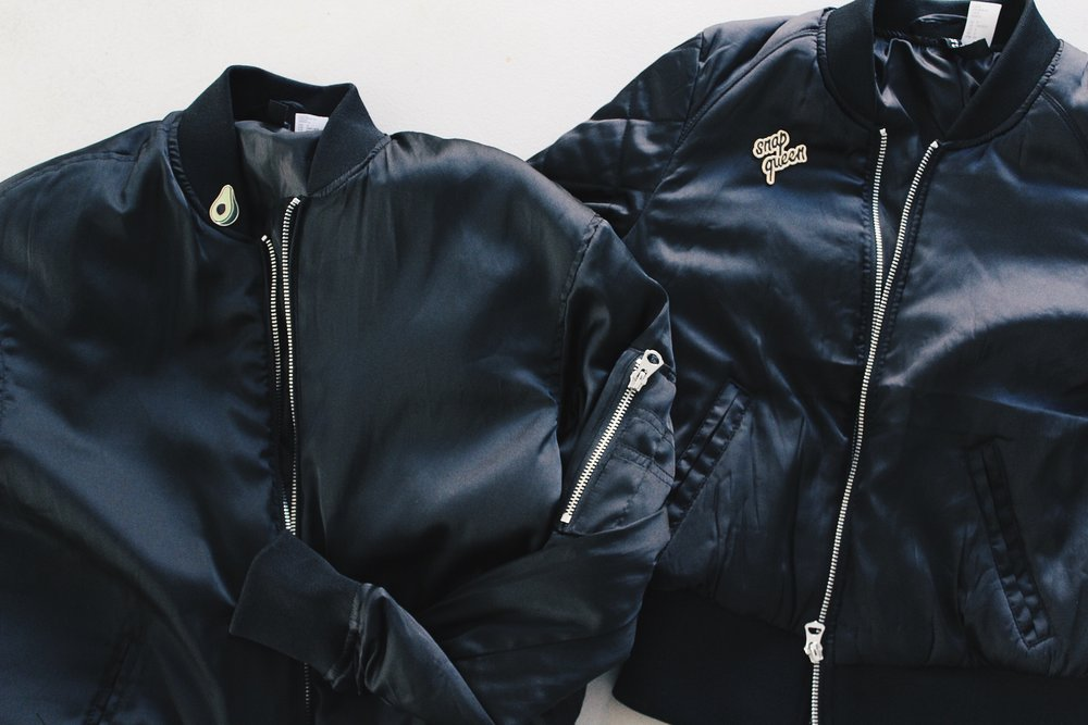 Women's Black Bomber Jacket with Lapel Pins