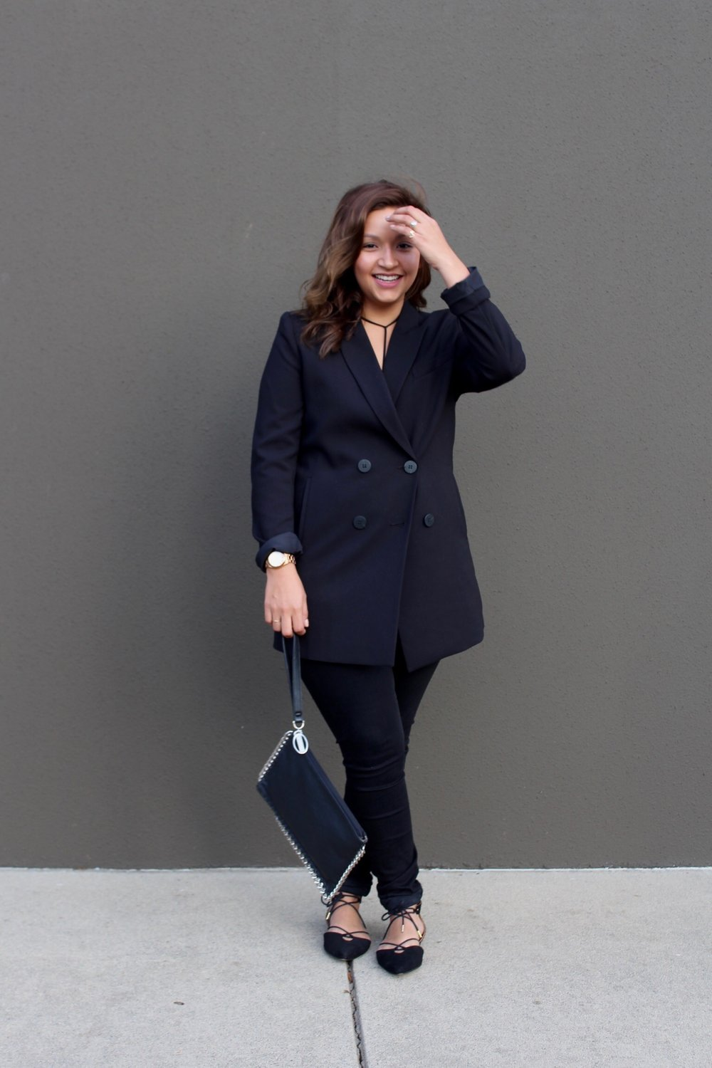 Womens Blazer paired with a braille and tie up pointy toe flats. Women's fashion inspired by menswear.