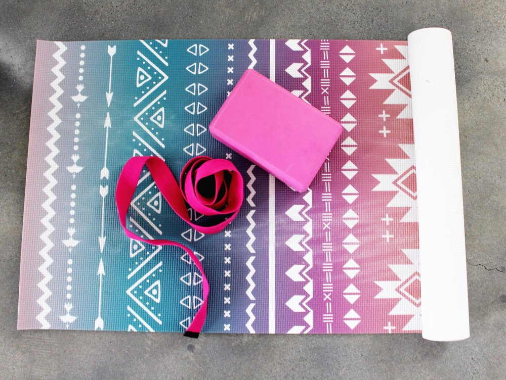 Printed yoga mat with yoga block and yoga strap