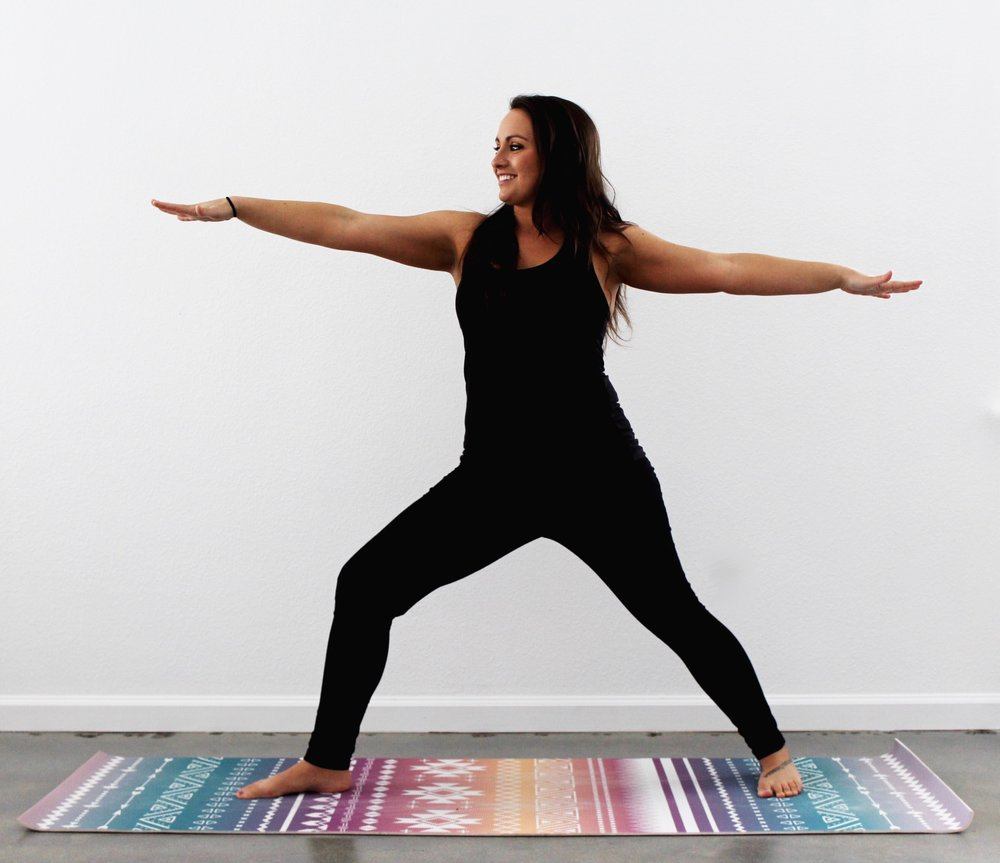 Yoga Instructor Michelle Trabucco in Warrior Pose.