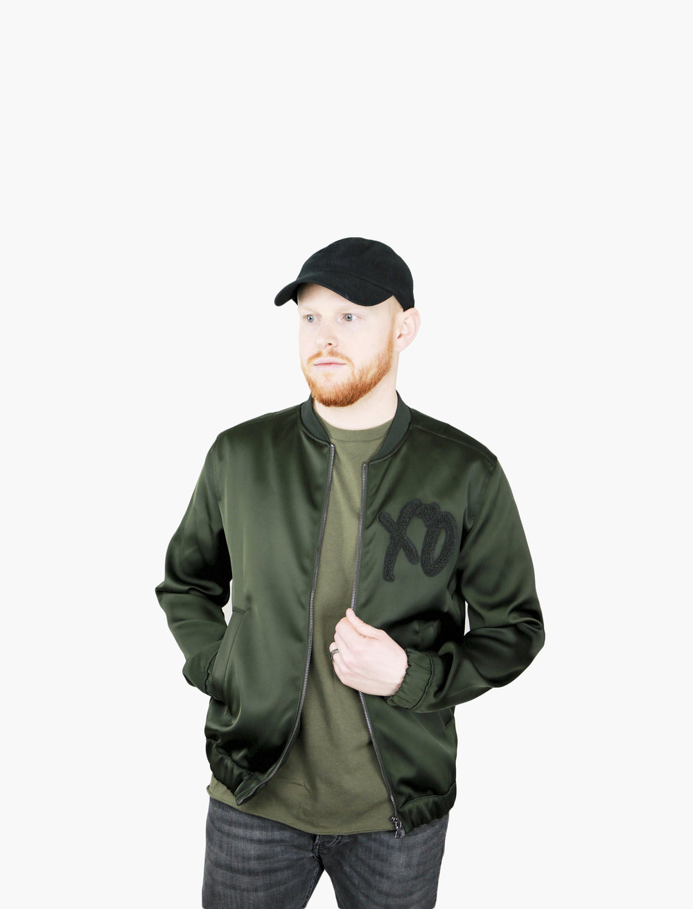 Black Dad Baseball Cap with Army Green Basic Mens Shirt. The Weeknd x H&M Green Satin XO Bomber Jacket