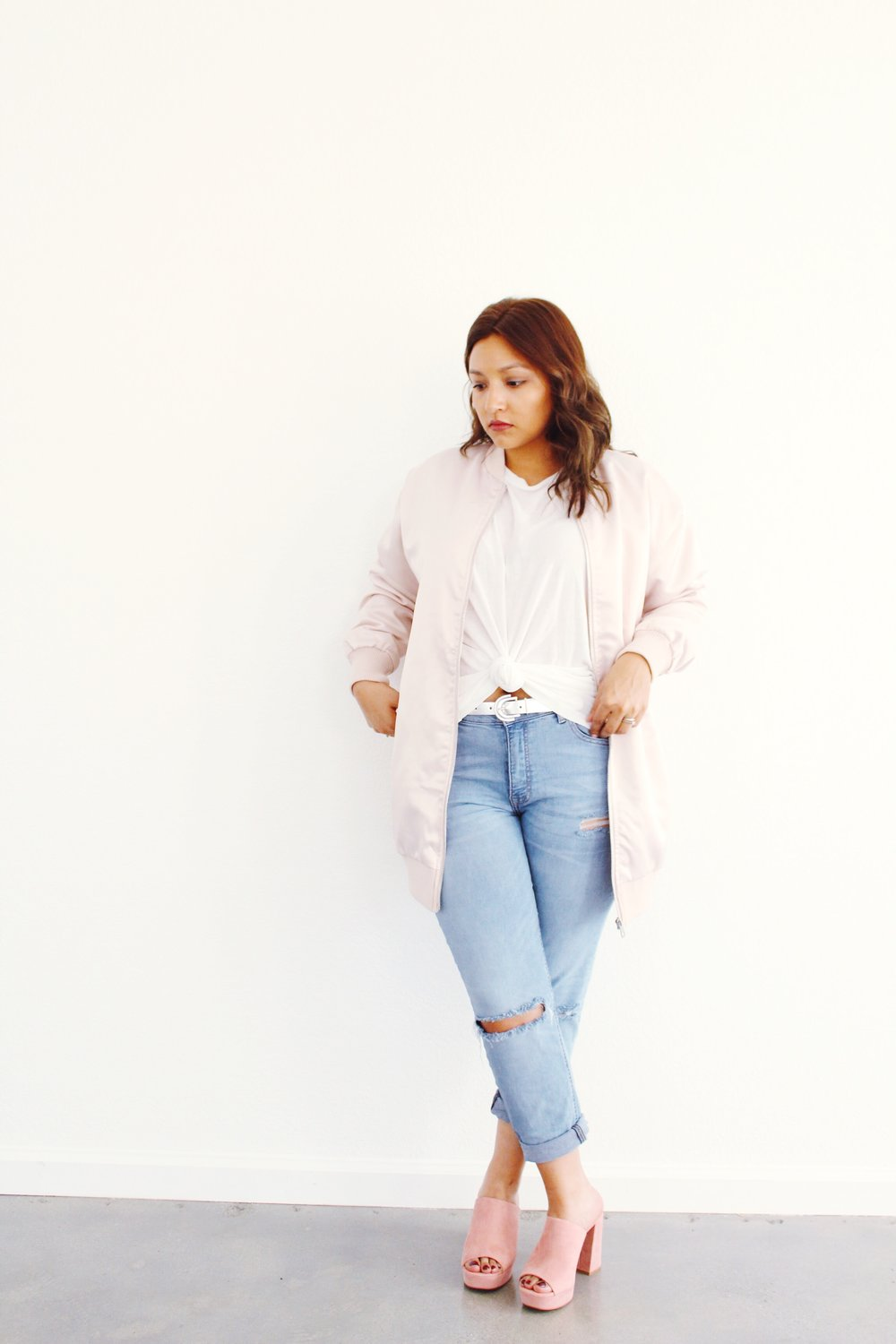 Blush Pink Long Satin Bomber with pink suede mule shoes
