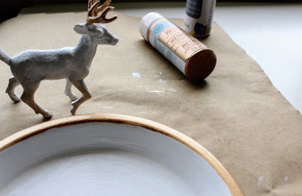 Deer Figurine painted with rose gold Martha Stewart Craft Paint