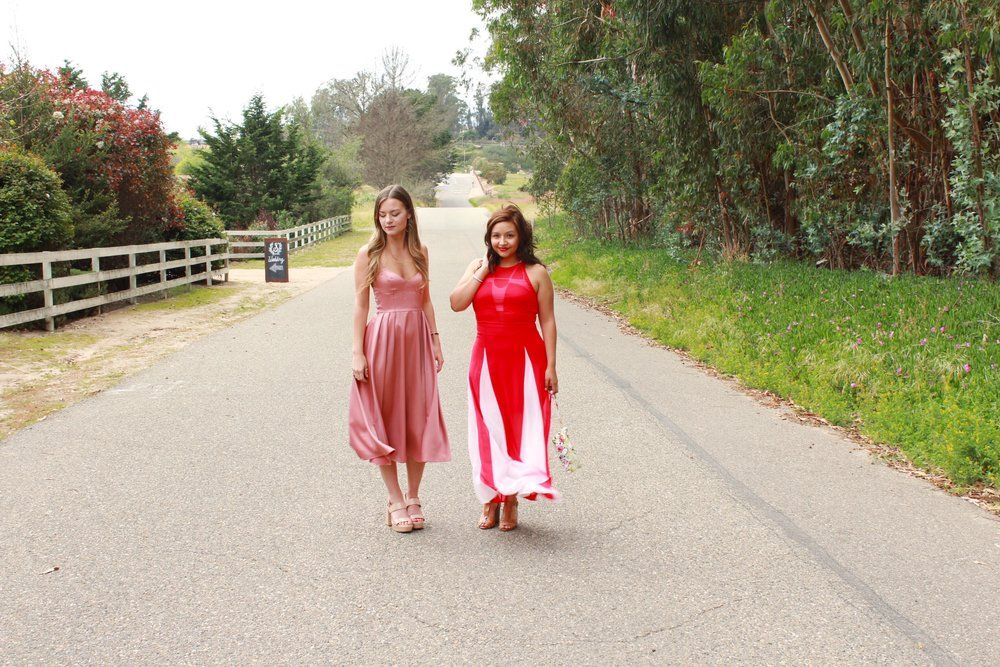Women's Wedding Fashion. H&M Pink Satin Dress and Express Red and White Halter Top Dress