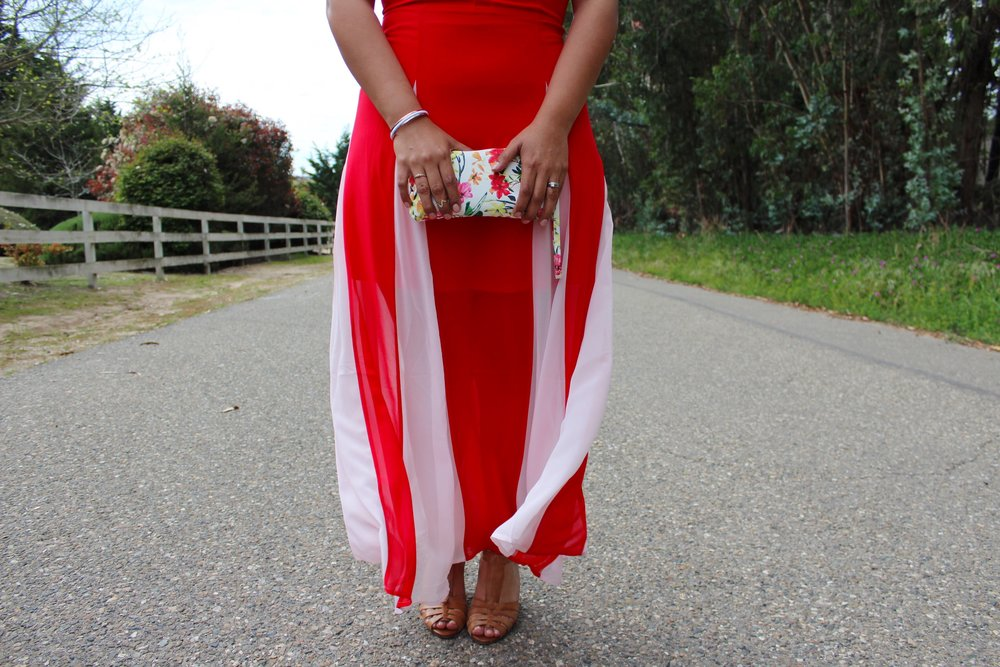 Red Express Dress and Floral Wristlet with Camel Colored Heels