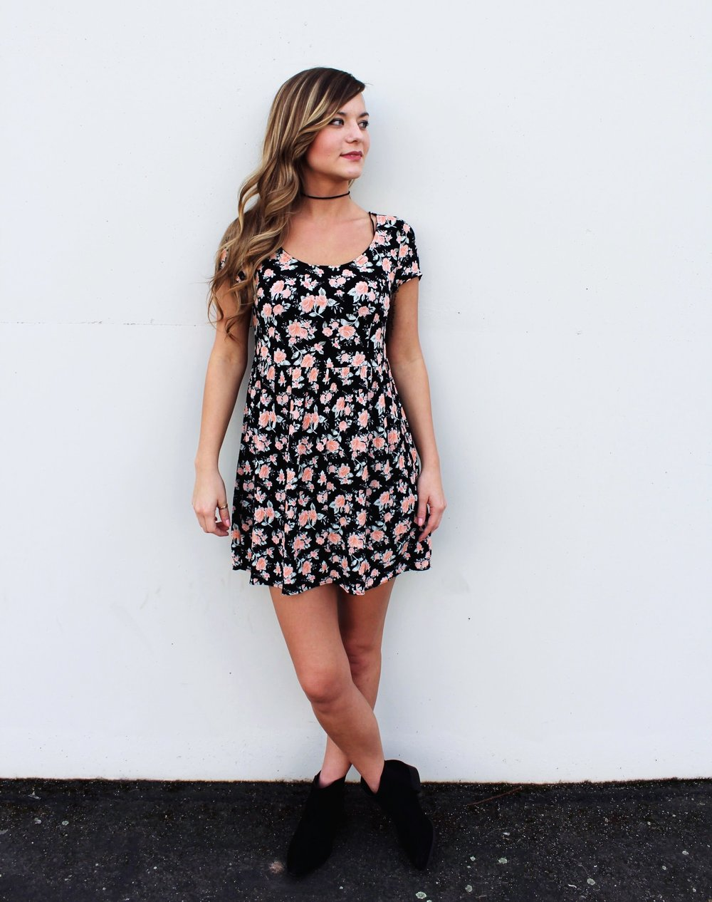 Floral 90's Style Mini Dress with a Back Lace up Tie Detail. Black Ankle Boots and Suede Choker Necklace.