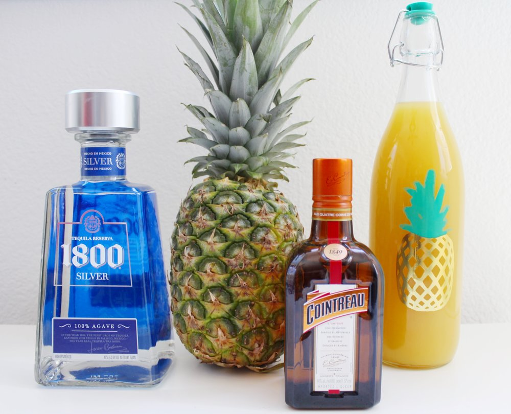 180 Silver Tequila, Pineapple Juice, and Cointreau Orange Liqueur.